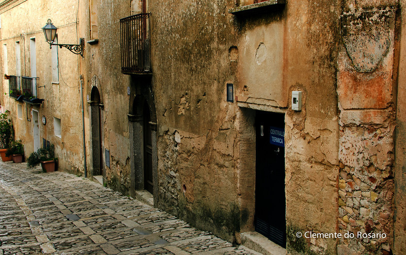 File Ref: 2012-10-26-Erice 692 1904_<br /> Ancient alleys (vanelle) with facades of the houses from stones of Greek or Roman Temples, Erice, Sicily
