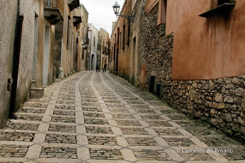 File Ref: 2012-10-26-Erice 835 1917<br /> Cobblestone street in Erice, Sicily, Italy
