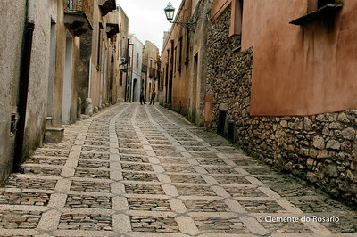 File Ref: 2012-10-26-Erice 835 1917 Cobblestone street in Erice, Sicily, Italy
