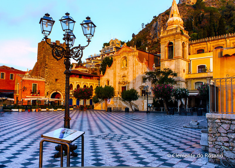 File Ref: 2012-10-22 Taormina NX5 537 1963<br /> Taormina's main sqaure,Piazza IX Aprile and Church of San Giuseppe.Sicily