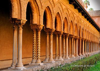 File Ref: 2012-10-19 Palermo 352 Monreale's Cloisters arches  borne  by 228 paired columns and capitals.