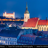 Slovak Republic - Bratislava - Capital City - Bratislava Castle - Bratislavský hrad - Pressburger Schloss - Main castle of Bratislava & St. Martin's Cathedral -  Katedrála svätého Martina during Blue Hour - Twilight - Dusk
