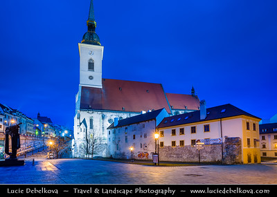 Slovak Republic - Bratislava - Capital City - St. Martin's Cathedral - Katedrála svätého Martina during Blue Hour - Twilight - Dusk