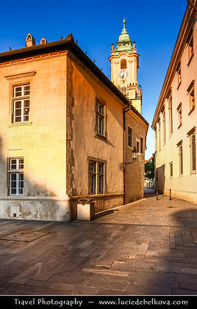 Slovak Republic - Bratislava - Capital City - Streets of Old Town near Main Square - Hlavné Námestie - in Bratislava Old Town - One of the best known squares in the city