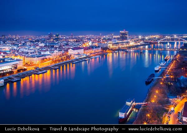 Slovak Republic - Bratislava - Capital City - View of the city from Nový Most - New Bridge - Most SNP - Bridge of the Slovak National Uprising - Road bridge over Dunaj - Danube River