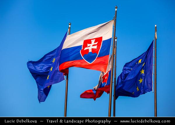 Slovak Republic - Bratislava - Capital City - National Parliament - National Council of the Slovak Republic - Národná rada Slovenskej republiky - NR SR - & Flangs of Slovakia and EU