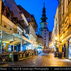 Slovak Republic - Bratislava - Capital City - Dusk view of St Michael's Tower & sidewalk cafes in the Old Town
