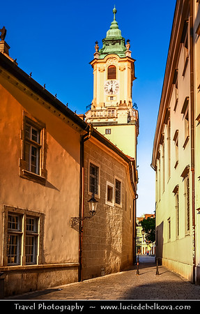 Slovak Republic - Bratislava - Capital City - Hlavné Námestie - Streets of Old Town near Main Square in Bratislava Old Town - One of the best known squares in the city