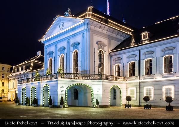 Slovak Republic - Bratislava - Capital City - Presidential palace - Grassalkovich Palace - Grasalkovičov palác - Residence of the president of Slovakia - Situated on Hodžovo námestie, near the Summer Archbishop's Palace