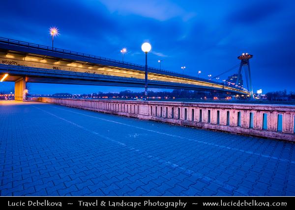 Slovak Republic - Bratislava - Capital City - Nový Most - New Bridge - Most SNP - Bridge of the Slovak National Uprising - Road bridge over Dunaj - Danube River