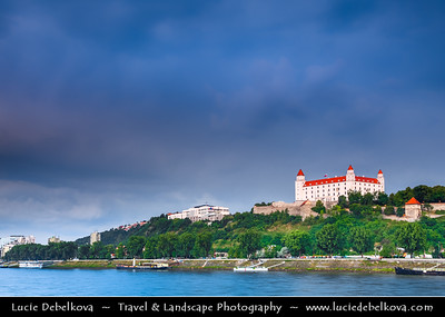 Slovak Republic - Bratislava - Capital City - Bratislava Castle - Bratislavský hrad - Pressburger Schloss - Main castle of Bratislava over Danube River - Dunaj