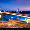 Slovak Republic - Bratislava - Capital City - Nový Most - New Bridge - Most SNP - Bridge of the Slovak National Uprising - Road bridge over Dunaj - Danube River - Twilight - Dusk - Blue Hour