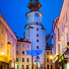 Slovak Republic - Bratislava - Capital City - View of St Michael's Tower & sidewalk cafes in the Old Town