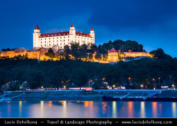 Slovak Republic - Bratislava - Capital City - Bratislava Castle - Bratislavský hrad - Pressburger Schloss - Main castle of Bratislava over Dunaj - Danube River - Twilight - Dusk - Blue Hour