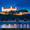 Slovak Republic - Bratislava - Capital City - Bratislava Castle - Bratislavský hrad - Pressburger Schloss - Main castle of Bratislava over Dunaj - Danube River - Twilight - Dusk - Blue Hour
