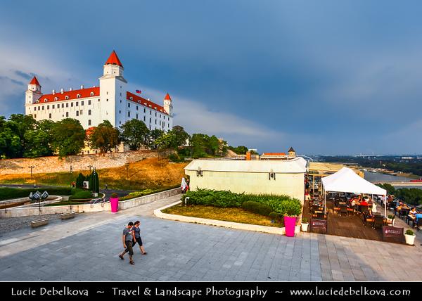 Slovak Republic - Bratislava - Capital City - Bratislava Castle - Bratislavský hrad - Pressburger Schloss - Main castle of Bratislava over Dunaj - Danube River