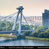 Slovak Republic - Bratislava - Capital City - Nový Most - New Bridge - Most SNP - Bridge of the Slovak National Uprising - Road bridge over Dunaj - Danube River