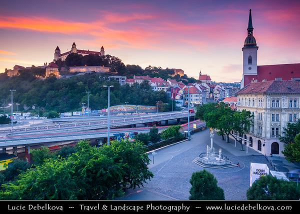 Slovak Republic - Slovakia - Slovensko - Bratislava - Capital City - Bratislava Castle - Bratislavský hrad - Pressburger Schloss - Main castle of Bratislava over Dunaj - Danube River