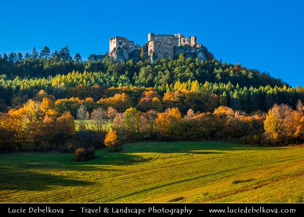 Europe - Slovak Republic - Slovensko - Northern Slovakia - Lietava Castle - Lietavský hrad - Extensive castle ruin in Súľov Mountains in Žilina District