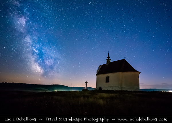Europe - Slovak Republic - Slovensko - Eastern Slovakia - Spišská Kapitula - Kaplička sv. Kříže - Pilgrimage Baroque chapel of Holy Cross located in National Nature Reserve Sivá Brada famous for its remnants of geyser - Night Sky with stars and Milky Way