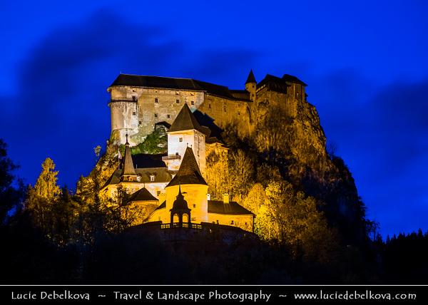 Europe - Slovak Republic - Slovensko - Northern Slovakia - Orava Castle - Oravský hrad - Spectacular castle built on high rock above Orava river in Oravský Podzámok village - One of most beautiful & famous castles in Slovakia
