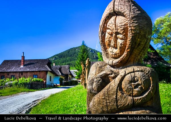Europe - Slovakia - Slovak Republic - Slovensko - Ružomberok - Vlkolínec - UNESCO World Heritage Site - Picturesque traditional old wooden village & folk architecture reservation