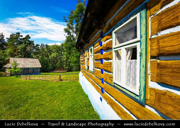 Europe - Slovak Republic - Slovensko - Eastern Slovakia - Prešov Region - Stará Ľubovňa - Ľubovniansky skanzen - Open-air museum with many houses & other buildings showing folk regional architecture