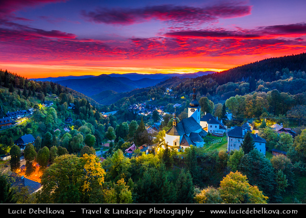 Europe - Slovak Republic - Slovensko - Central Slovakia - Spania Dolina - Špania Dolina - Picturesque historic village situated 728m above sea level, surrounded by Staré Hory & Veľká Fatra mountains - Autumn time with warm fall colours