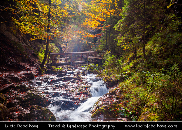 Europe - Slovakia - Slovak Republic - Slovensko - Northern Slovakia - Mala Fatra National Park - Jánošíkove Diery - Janosikove Diery Gorge - One of most beautiful Slovakian hiking trails in Mala Fatra - Natural area with amazing rock formations, beautiful scenery, canyons and waterfalls in national nature reserve Rozsutce