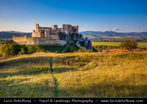 Europe - Slovak Republic - Slovensko - Western Slovakia - Beckov hrad - Beckov Castle - Gothic castle built on top of a steep rock over Váh River valley