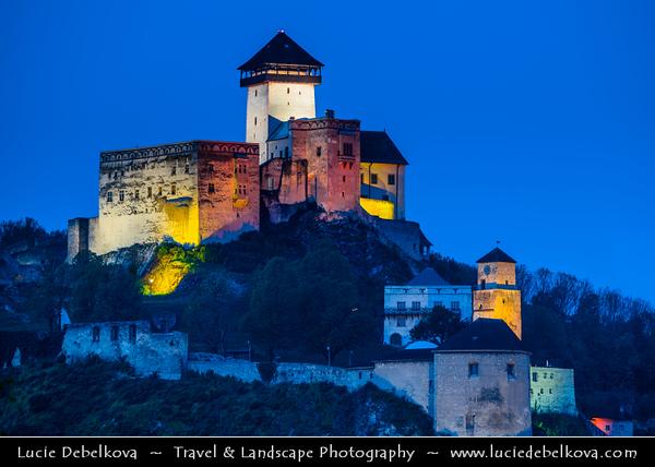 Europe - Slovak Republic - Slovensko - Western Slovakia - Trenčín - Trenčiansky hrad - Trenčín Castle - Gothic castle built on top of a steep rock over Váh River valley - One of Slovakia's most impressive castles