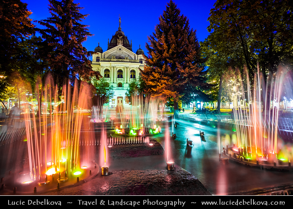 Europe - Slovak Republic - Slovakia - Slovensko - Kosice - Košice - Biggest city in eastern Slovakia - European Capital of Culture 2013 - Park with Singing fountain in front of State Theatre - Statni Divadlo