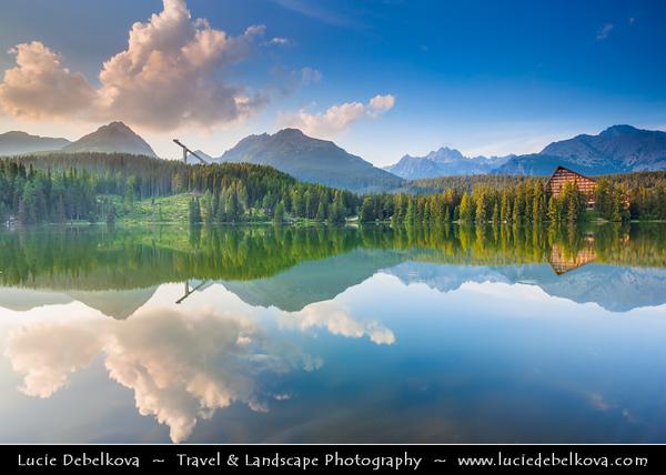 Europe - Slovakia - Slovak Republic - Slovensko - High Tatras - Vysoke Tatry - Štrbské pleso - Highest settlement in highest mountain range of eastern Europe - Large glacial mountain lake - Favorite ski, tourist & health resort