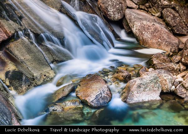 Europe - Slovakia - Slovak Republic - Slovensko - High Tatras - Vysoke Tatry - Hrebienok (1,285m) - Group of cascaded Vodopády Studeného potoka waterfalls - Complex system of multi-terraced cascades & one of most frequently visited waterfalls in High Tatras