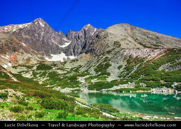 Europe - Slovakia - Slovak Republic - Slovensko - High Tatras - Vysoke Tatry - Skalnaté pleso - Rocky Mountain Lake - Formerly called Lomnické Mountain-Lake - Glacial mountain lake at 1751 m facing monumental Lomnický štít mountain (2632 m)