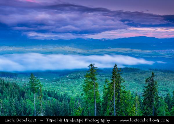 Europe - Slovakia - Slovak Republic - Slovensko - High Tatras - Vysoke Tatry - View from Štrbské pleso - Highest settlement in the highest mountain range of eastern Europe - Favorite ski, tourist & health resort