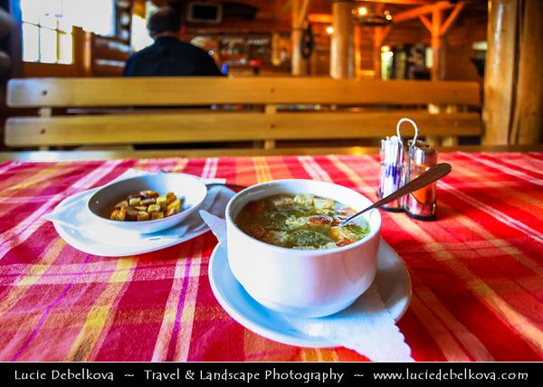 Europe - Slovakia - Slovak Republic - Slovensko - Hight Tatras - Vysoke Tatry - Slovak specialty - Garlic soup - Cesnaková polievka - Cesnačka in Traditional Slovak restaurant -