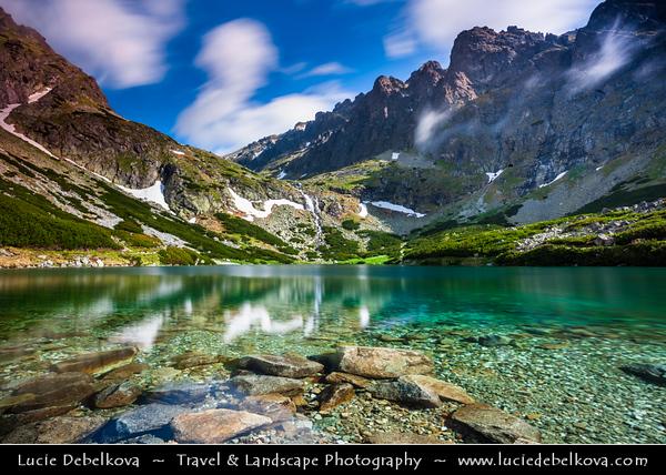 Europe - Slovakia - Slovak Republic - Slovensko - High Tatras - Vysoke Tatry - Velicke Pleso Lake - Glacial mountain lake at 1670 m facing monumental under the highest peak in the Tatras, Gerlachovsky stit