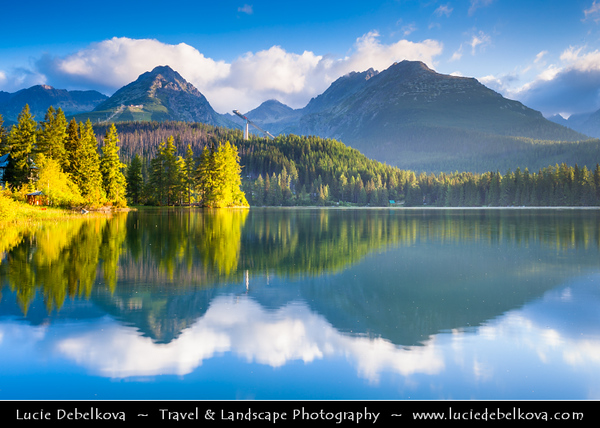 Europe - Slovakia - Slovak Republic - Slovensko - High Tatras - Vysoke Tatry - Štrbské pleso - Highest settlement in highest mountain range of eastern Europe - Large glacial mountain lake - Favorite ski, tourist & health resort