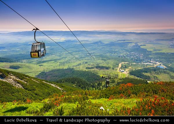 Europe - Slovakia - Slovak Republic - Slovensko - High Tatras - Vysoke Tatry - Cable Car from Skalnaté pleso - Rocky Mountain Lake - Formerly called Lomnické Mountain-Lake - Glacial mountain lake at 1751 m facing monumental Lomnický štít mountain (2632 m)