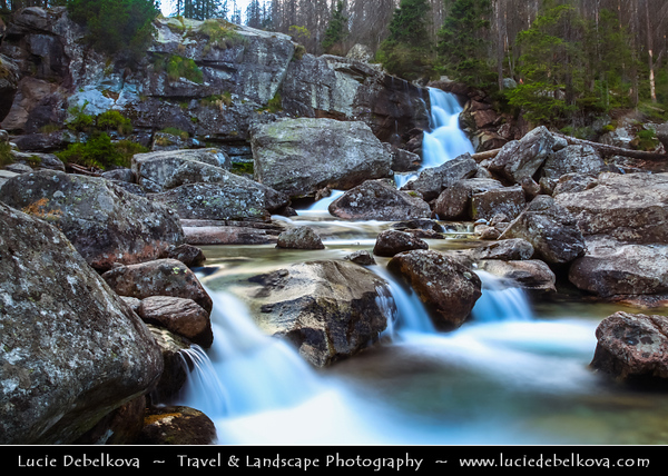 Europe - Slovakia - Slovak Republic - Slovensko - High Tatras - Vysoke Tatry - Hrebienok (1,285m) - Group of cascaded Vodopády Studeného potoka waterfalls - Complex system of multi-terraced cascades & one of most frequently visited waterfalls in High Tatras
