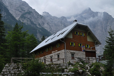 Aljazev dom (1015m) at the base of the Triglav