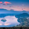 Europe - Slovenia - Slovenija - Julian Alps - Lake Bled - Blejsko jezero - Bled Island - Blejski otok with Assumption of Mary Pilgrimage Church - Cerkev Marijinega vnebovzetja - Autumn/Fall colors