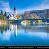Europe - Slovenia - Slovenija - Julian Alps - Triglavski National Park - Bohinj Lake - Bohinjsko jezero - Largest glacial lake in Slovenia - Church of St. John the Baptist - Autumn/Fall colors