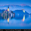 Europe - Slovenia - Slovenija - Julian Alps - Lake Bled - Blejsko jezero - Bled Island - Blejski otok with Assumption of Mary Pilgrimage Church - Cerkev Marijinega vnebovzetja