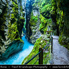Europe - Slovenia - Slovenija - Julian Alps - Triglav National Park - Tolmin Gorge - Narrow gorges with crystal waters at confluence of Tolminka & Zadlaščica, both streams have carved deep gorges into rocks
