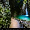 Europe - Slovenia - Slovenija - Julian Alps - Kobarid region - Slap Kozjak - Kozjak waterfall - One of nicest Slovenian waterfalls with wonderful emerald green pool at its base
