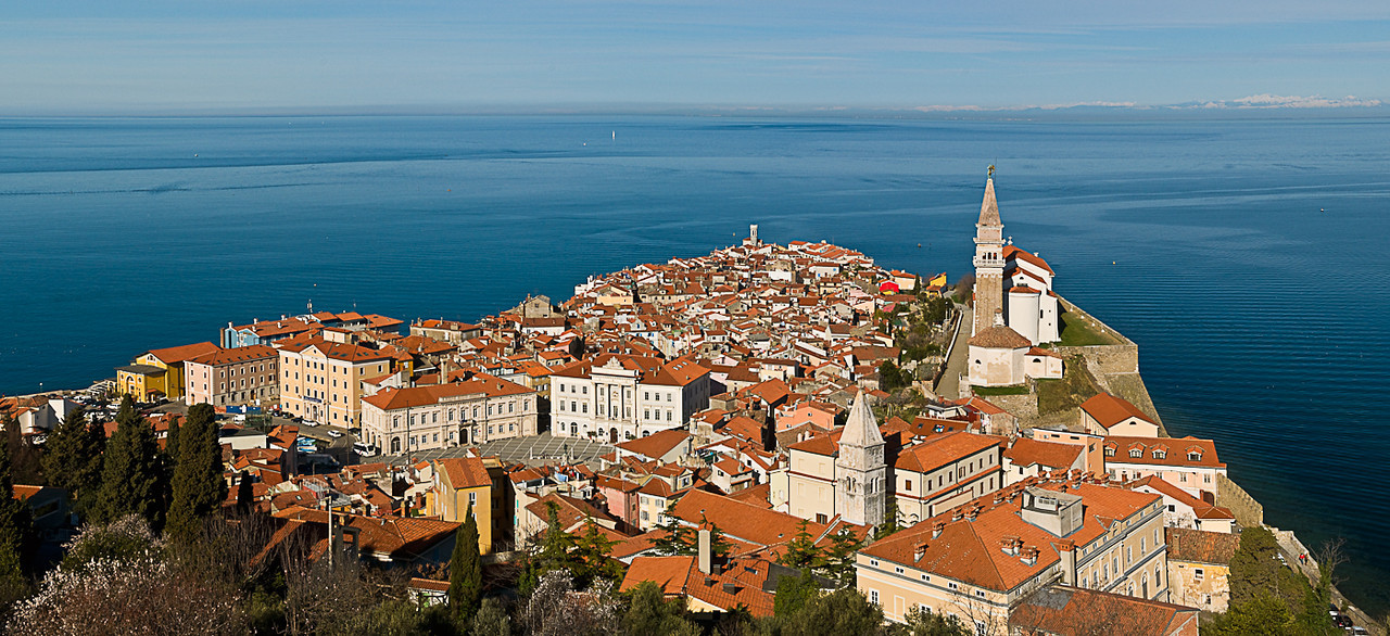 View from a hill overlooking the old town of Piran and St. George Church, Piran, Slovenvia