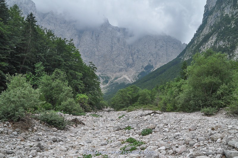 dry river bed and wooded valley near Aljazev dom