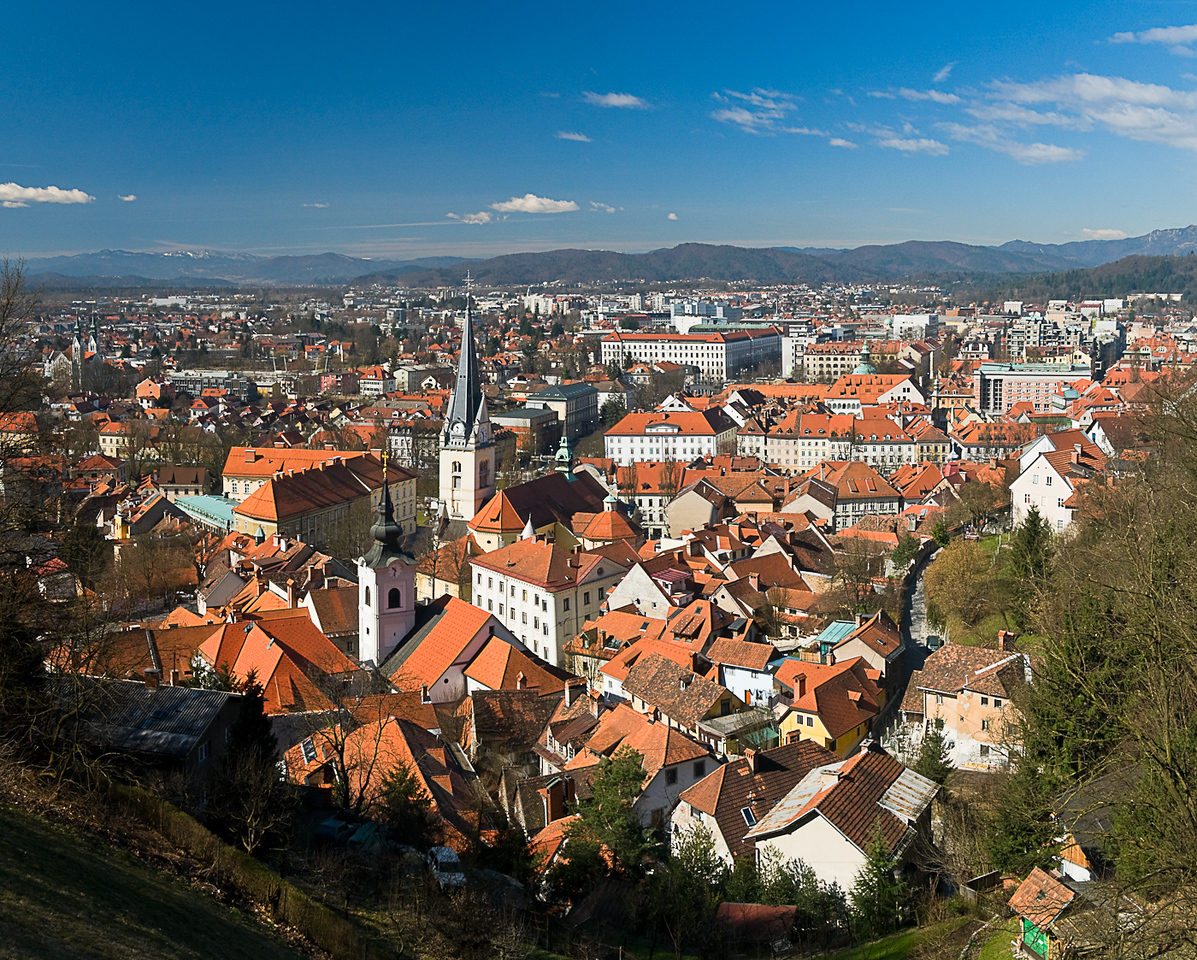 View of the old town of Ljubljana with the churches of St James and St Florians in the  foreground taken from the castle